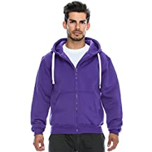 Plus Size Hipster Hip Hop Basic Heavy Weight Zip-Up PURPLE Hoodie Jacket 6XL