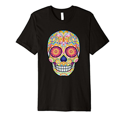 Sugar Skull Costume Male (Mens Flower Sugar Skull Costume Tees Sugar Skull Costume Plus Siz 3XL Black)