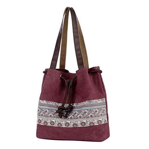- Kangma Women Bucket Bag High Capacity Canvas bag Shoulder bag Shopping Travel Beach National Style Floral Handbag
