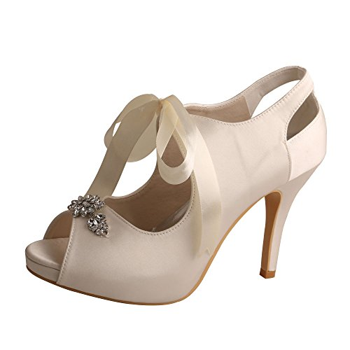 High Satin Mary Tie Wedding MW505 Heel Ivory Jane Shoes Toe Women's Ribbon Wedopus Peep Pumps Bridal Y1vHxSw