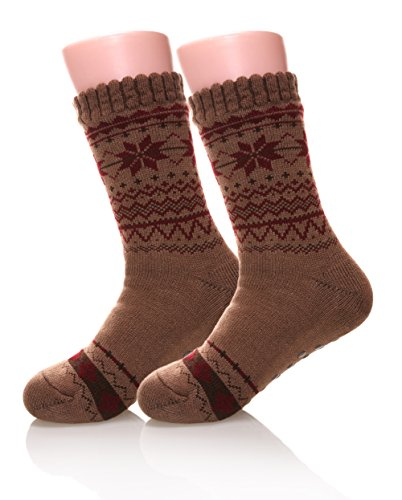 Eocom Men's Winter Warm Fuzzy Non Slip Slipper Snowflak Socks Christmas Valentine's Day Gift Idea(Light brown)