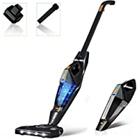 Hikeren 12KPa Lightweight 2 in 1 Stick Handheld Vacuum with Rechargeable Lithium Ion Battery and LED Brush for Floor Carpet Pet Hair