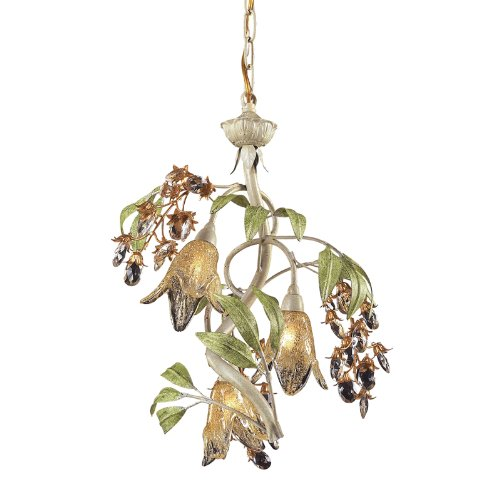 ELK Lighting Huarco 3 Light Chandelier In Seashell And Green - Includes Recessed Lighting Kit (Huarco Seashell Chandelier Elk Lighting)