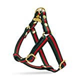 Green and Red Striped Luxury Designer Dog Harness, Adjustable with Gold Metal Hardware for X-Small, Medium, Large Dogs