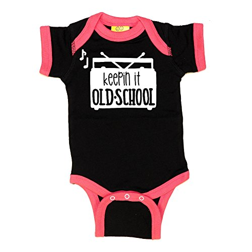 Mashed Clothing Unisex-Baby - Keeping It Old School (Radio) - Fun & Trendy - Ringer Baby Bodysuit (Black/Hot Pink, 6 Months) (Old Ringer School)