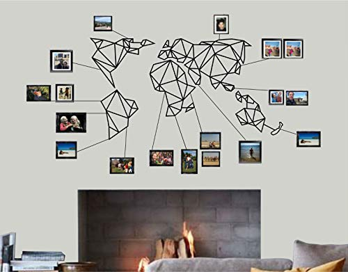XXXXXL LARGE World Map Wall Art - Geometric World Map - 3D Wall Silhouette Metal Wall Decor Home Office Decoration Bedroom Living Room Decor Sculpture 5 Pieces (Black, 69