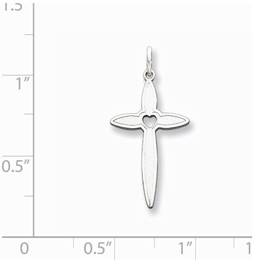 0.98 in x 0.47 in Sterling Silver Laser Designed Cross Pendant
