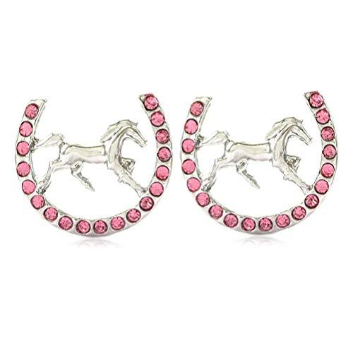 (Lucky Charm Horseshoe Horse Mustang Pony Stud Post Earrings Rhinestones Fashion Jewelry)