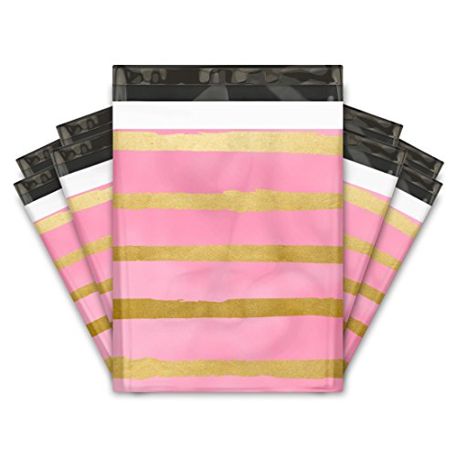 10x13 (100) Pink and Gold Stripes Designer Poly Mailers Shipping Envelopes Premium Printed Bags