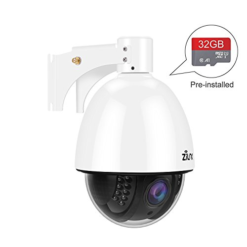 ZILINK Outdoor Security Wireless Camera, 960P HD Pan and Tilt WiFi Camera(1280×960), 360 Outdoor PTZ, Night Vision, Motion Alert, Waterproof, Pre-Installed 32GB Memory Card, White