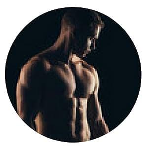 alfombrilla de ratón Cierre de deportes de hombre musculoso aislado en el fondo negro - ronda - 20cm