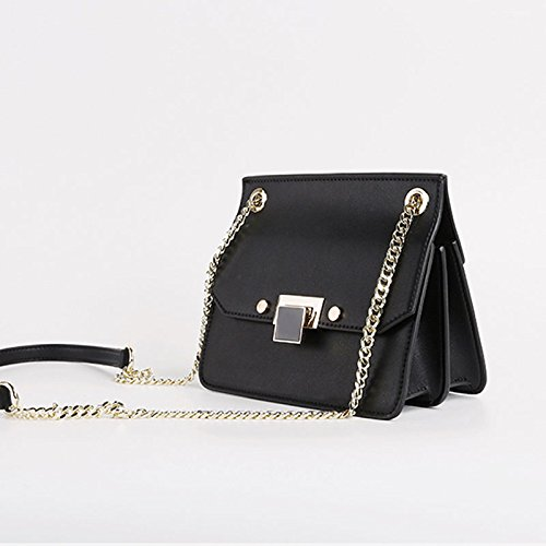 Mini Hombro Negro la de Color Colores Party Ms Cadena Bolso 3 Opcionales Messenger Lock de Negro ZCM TwzqpESE