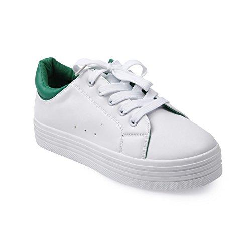 La Modeuse-zapatillas bajas blancas con plataforma en el tobillo con colores, Verde (verde), 41: Amazon.es: Zapatos y complementos