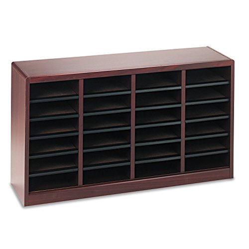 Safco E-Z Stor Literature Organizer - 23quot; Height x 40quot; Width x 11.8quot; Depth - 24 Compartment(s) - Fiberboard, Hardboard, Wood - Mahogany by Safco