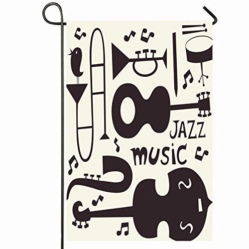 Ahawoso Outdoor Garden Flag 28x40 Inches Drawn Music Jazz Musical Instruments Abstract Funny Vintage Trumpet Blues Guitar Trombone Swing Seasonal Home Decorative House Yard Sign