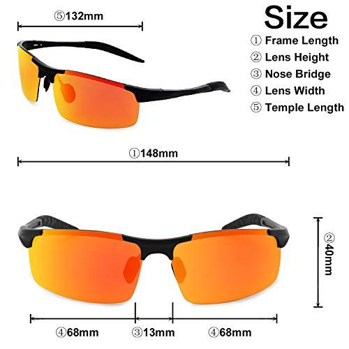 Ciclismo Ultraligero para UV de El para Sol Mg Gafas Gafas Protección Pesca AMZTM Deportivas Rojo Al Polarizadas Negro Hombre qxaRvOS