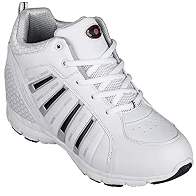 Calden - K33291-3.8 Inches Taller Size 10 D US - Height Increasing Elevator Shoes (White Lace up Tennis Shoes)