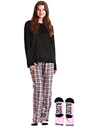 Plush Women's Pajama Pant Set with Matching Socks with Sayings