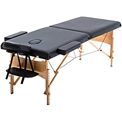 "New Black 84"" Portable Massage Table w/Free Carry Case T1 Chair Bed Spa Facial"