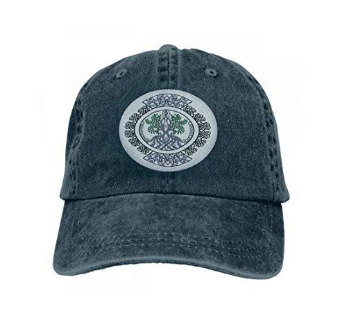 - Vintage Jeans Baseball Cap Celtic Ornament Tree Life Decorative Curls Circle Design ce Navy