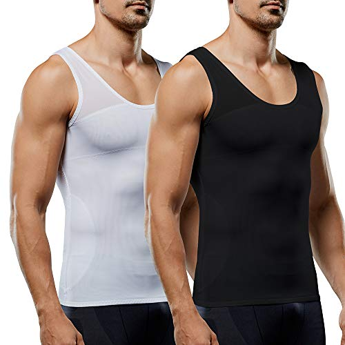 Men's Compression Shirt Slimming Body Shaper Vest to Hide Man Boobs Shapewear 2 Pack (White&Black, XX-Large)
