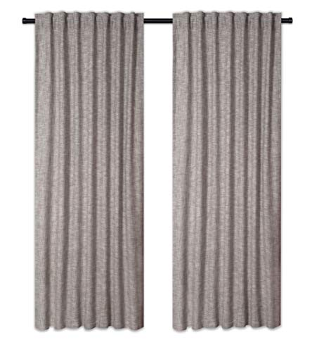 Cotton Clinic Farmhouse Style Window Curtains 2 Panels 50x96, Curtains for Living Room, Curtains for Bedroom, Curtains 96 Inch Length - 2 Piece Set 100% Pure Cotton Tab Top Curtains Gray ()