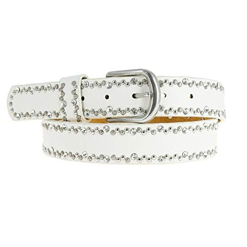 (FASHIONGEN - Rhinestone and studded leather woman belt, CAPUCINE - White, 85 cm (33.40 in) / Trousers 6 to 10)