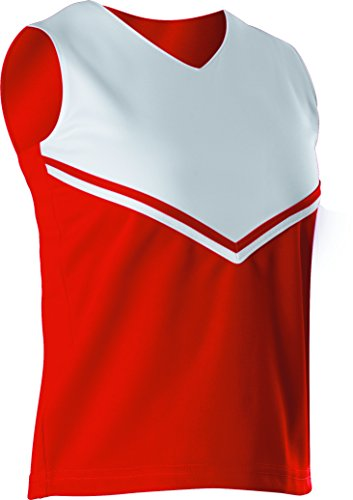 Alleson Girls Cheerleading V Shell Top with Braid, Red/White, Medium
