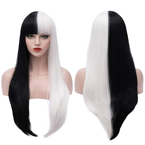 Black And White Wig Halloween Costume (Bopocoko 32 Inch Extra Long Wig Black White Cosplay Costume Wigs for Women Halloween Costumes Wigs with Wig Cap)