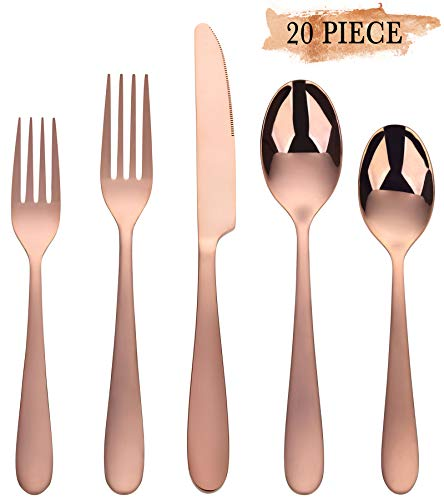 Classic Rose Dinner Set - Rose Gold Silverware Set, Stainless Steel Silverware Flatware 20-Piece Cutlery Set, Utensils Service for 4 Include Mirror Polished Knife/Fork/Spoon, Dishwasher Safe