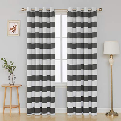 ut Curtains Striped Pattern Curtains Thermal Insulated Grey and Greyish White Curtains for Bedroom 52W X 84L Gray 2 Panels ()