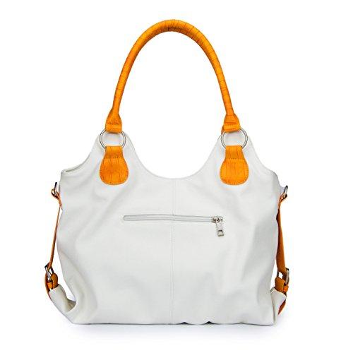 Bianco Manumar A Unica Borsa Mm6002 Bianco Mano Donna Turchese arancione Taglia XqrXw1