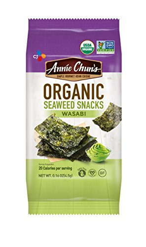 Annie Chun's Organic Seaweed Snacks, Wasabi, 0.16-ounce (Pack of 12), America's #1 Selling Seaweed Snacks