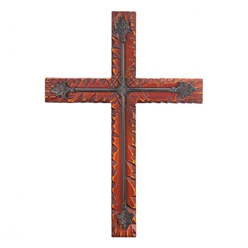 (Wood and Iron Wall Cross Crucifix Faith Hanging Spiritual Home)