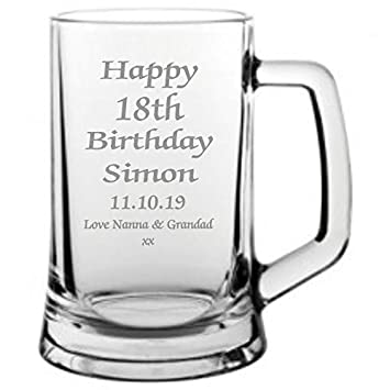 15360a4f3 Men's 18th Birthday Gift, Engraved 18th Birthday Pint Glass Tankard, In  Satin Lined Presentation