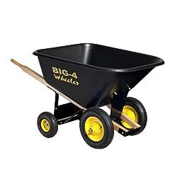 Big 4 Wheeler Heavy-Duty Wheelbarrow, 10 Cubic Feet