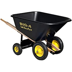 Big 4 Wheeler Heavy Duty Wheelbarrow, 10 Cubic Feet