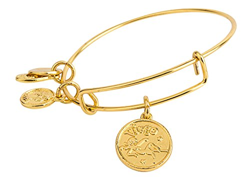 MBOX Design Expandable Antique Gold/Silver Tone Style Twelve Constellations Astrology Wire Bangle Bracelet (Shinny Gold - Virgo)