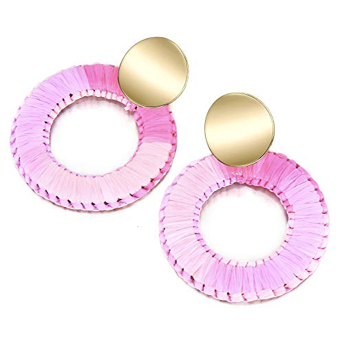 Pink Raffia Statement Earrings Round Drop Earrings Boho Dangle Geometric Colorful Earrings for Women Gift Jewelry red dangle earrings ()