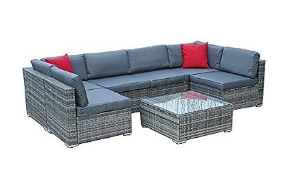 Xxl Lounge Gartenmobel Poly Rattanmobel Sitzgruppe Gartengarnitur Gartenset Grau
