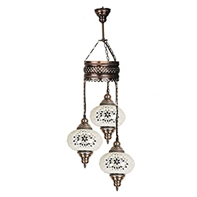 Mosaic Chandelier, Express Shipping, Ceiling Lights, Turkish Lamps, Hanging Mosaic Lights, Pendant, Green Glass, Color Glass, Moroccan Lantern, 3 Bulbs, White Lamp