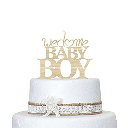 Amazon Designyours Welcome Baby Boy Rustic Cake Toppers