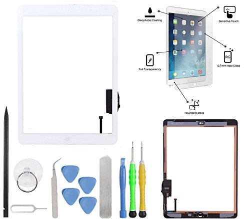 Global Direct-Touch Screen Glass Digitizer Assembly Replacement Kit + Home Button + Camera Holder + Adhesive pre-installed (Premium Tools) for iPad Air 5 A1474 A1475 (White)