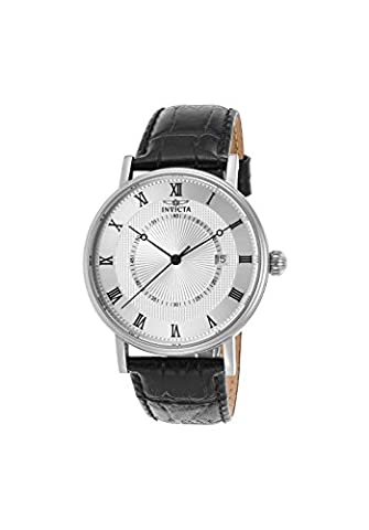 Invicta Men's 'Vintage' Swiss Quartz Stainless Steel and Leather Casual Watch, Color:Black (Model: (Invicta Watch Black Leather)