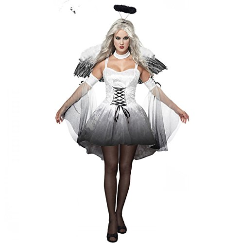 Adult Fallen Angel Costumes (Sexy Womens Halloween Costume Halloween Costumes For Women Fallen Angel Costume White Onesize)