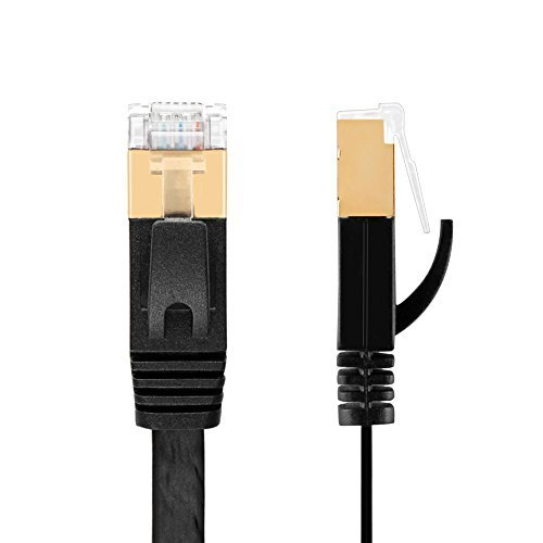 TNP Cat7 Shielded Ethernet Flat Patch Network Cable 6 ft - 10Gbps 600Mhz High Performance with Snagless RJ45 Connectors Gold Plated Plug S/STP Wires Networking Cable Wiring Black