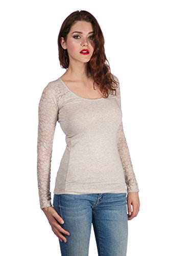 Long sleeve top with lace insert on sleeves and back yoke (3XL, Oatmeal)