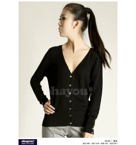 Fashion Womens Ladies Long Sleeve Shell Button V Neck Casual Jumper Knitwear Cardigan Sweater Tops Coat 4 colors-black