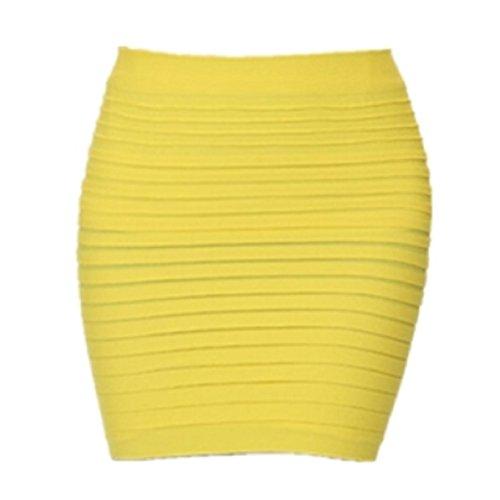 LuckyGirls Mode Femme Sexy Crayon Jupe Rayures lastique Haute Taille Paquet Hanche Jupe Courte Jaune