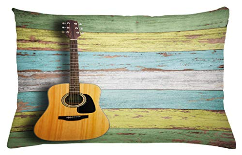 Ambesonne Music Throw Pillow Cushion Cover, Acoustic Guitar on Colorful Painted Aged Wooden Planks Rustic Country Design Print, Decorative Accent Pillow Case, 26 W X 16 L Inches, Multicolor